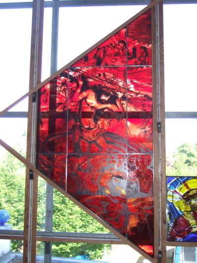 """Trapezfenster """"Christus in der Kelter"""""""