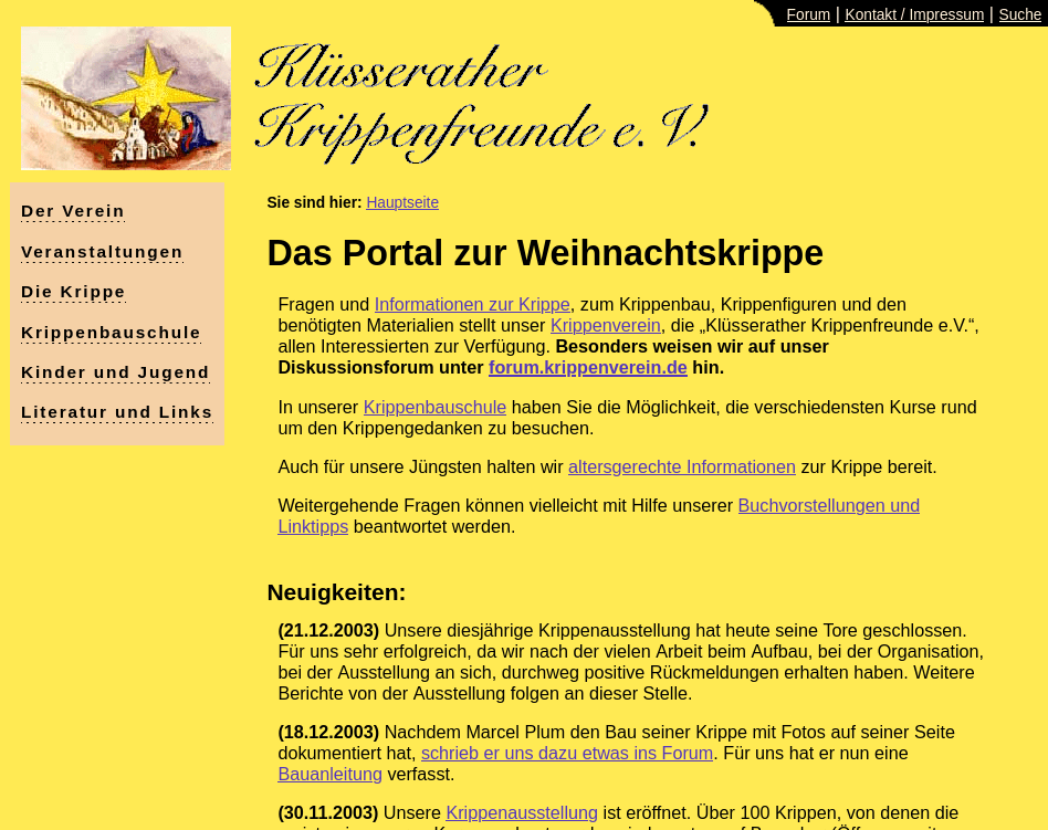 Entwicklung: Internetauftritt ab 2003