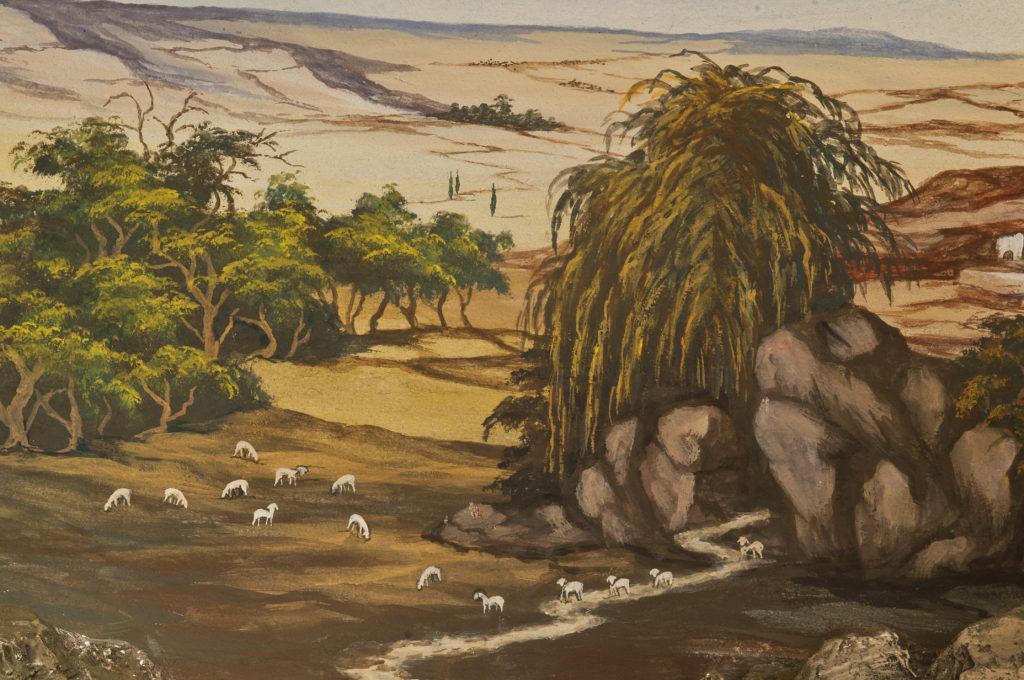 Im Kurs lernen Sie einen ähnlichen Hintergrund zu malen, wie der unserer orientalischen Vereinskrippe