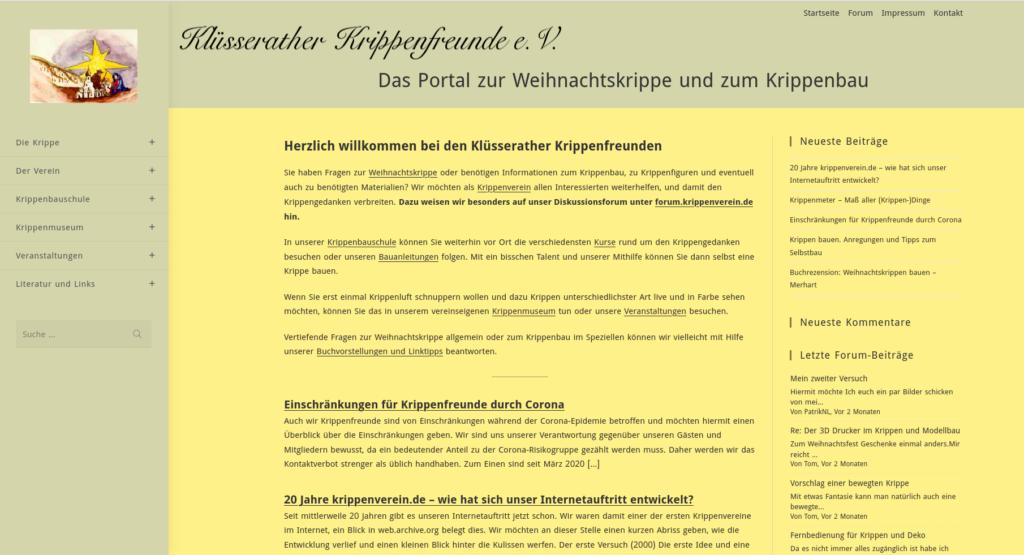 krippenverein.de auf dem PC-Bildschirm